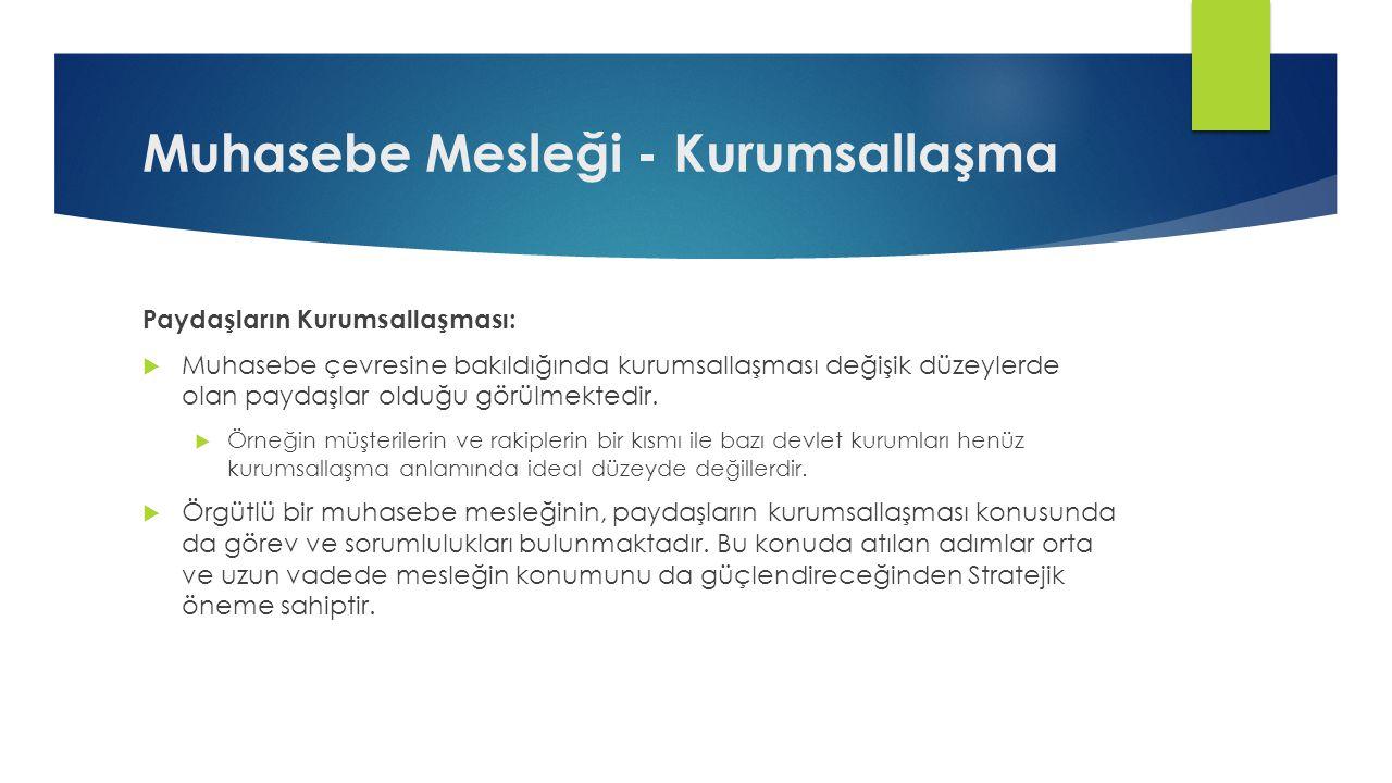 Öneriler  TÜRMOB'un vizyon, misyon, değerler ve stratejik plan konusundaki çalışmalarını hızlandırması .