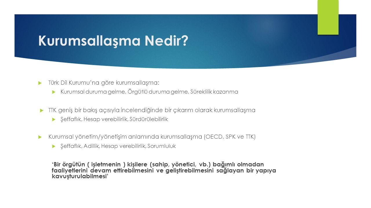 Kurumsallaşma Nedir?  Türk Dil Kurumu'na göre kurumsallaşma:  Kurumsal duruma gelme, Örgütlü duruma gelme, Süreklilik kazanma  TTK geniş bir bakış