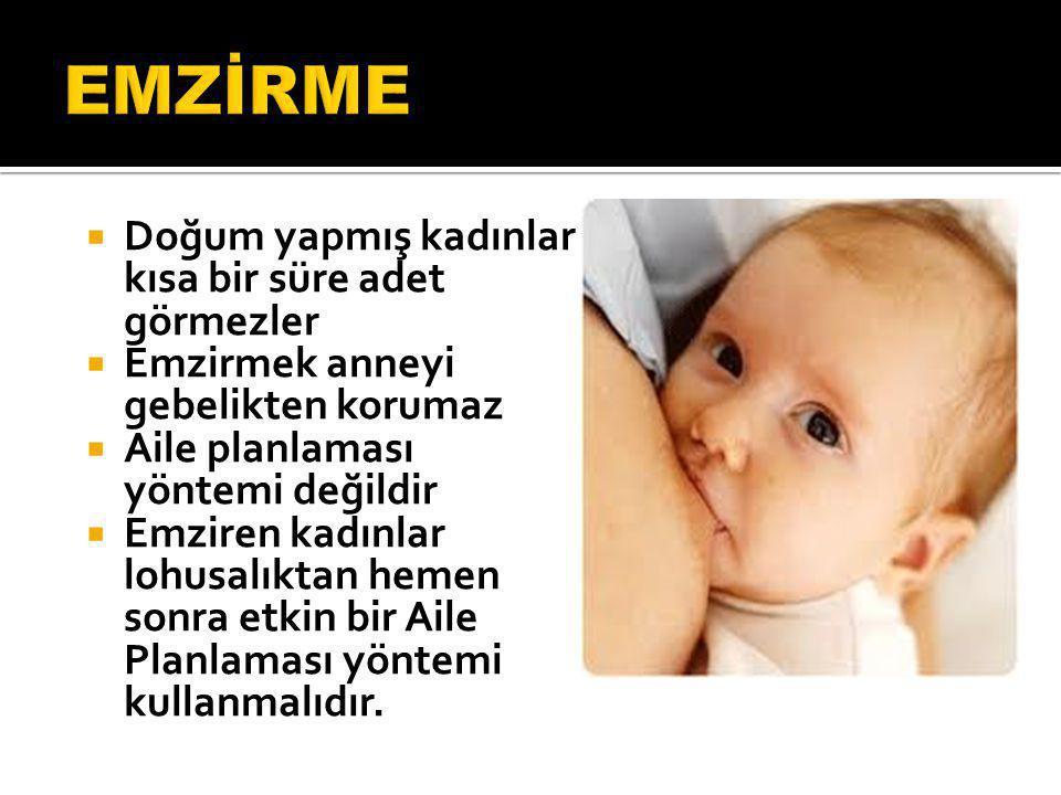  Doğum yapmış kadınlar kısa bir süre adet görmezler  Emzirmek anneyi gebelikten korumaz  Aile planlaması yöntemi değildir  Emziren kadınlar lohusa