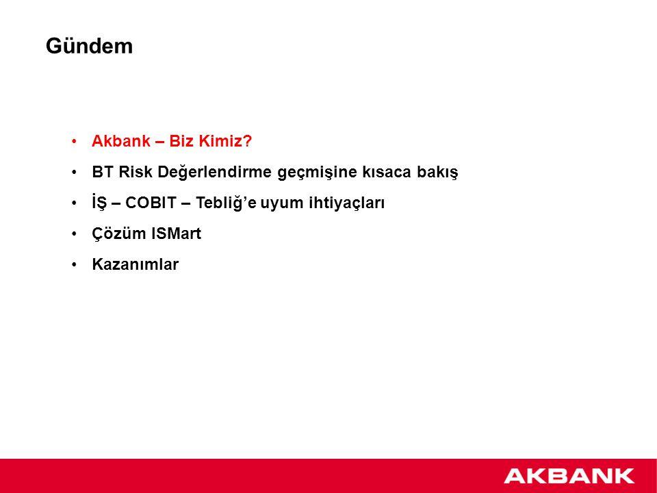 Gündem Akbank – Biz Kimiz? BT Risk Değerlendirme geçmişine kısaca bakış İŞ – COBIT – Tebliğ'e uyum ihtiyaçları Çözüm ISMart Kazanımlar