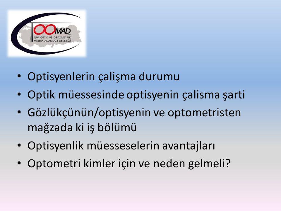 Optisyenlerin çalişma durumu Optik müessesinde optisyenin çalisma şarti Gözlükçünün/optisyenin ve optometristen mağzada ki iş bölümü Optisyenlik müess