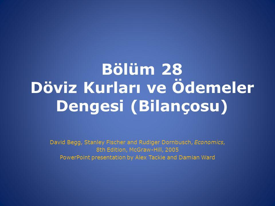 Bölüm 28 Döviz Kurları ve Ödemeler Dengesi (Bilançosu) David Begg, Stanley Fischer and Rudiger Dornbusch, Economics, 8th Edition, McGraw-Hill, 2005 Po