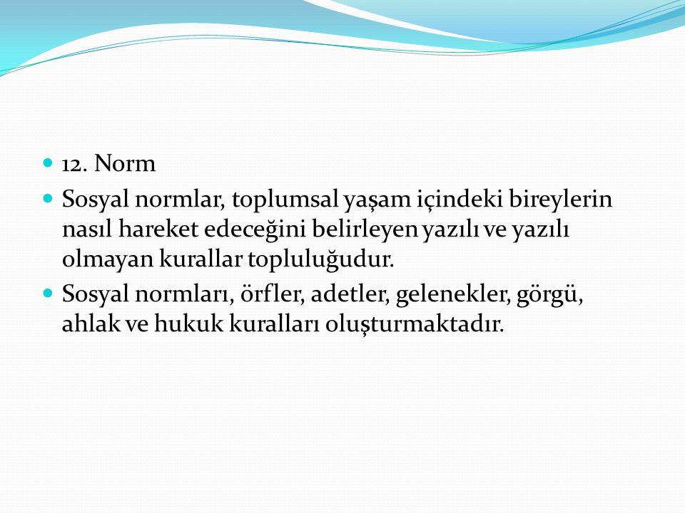 12. Norm Sosyal normlar, toplumsal yaşam içindeki bireylerin nasıl hareket edeceğini belirleyen yazılı ve yazılı olmayan kurallar topluluğudur. Sosyal