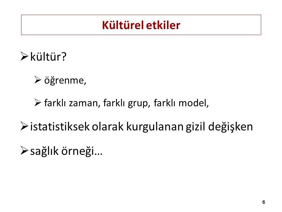 ÖRNEK Yetişkinler için Psikolojik Dayanıklılık Ölçeği'nin Güvenilirlik ve Geçerlilik Çalışması (Türk Psikiyatri Dergisi 2011) Puanlama: Puanlama şekli serbest (beş ayrı kutucuk) Geçerlilik: yapı (5 ve 6'lı yapı karşılaştırma, DFA) + ölçüt bağımlı (kontrol odağı, sosyal karşılaştırma) Güvenilirlik: test tekrar test (350 kişi, 3 hafta) + iç tutarlılık (alfa) + madde-toplam skor istatistiği 27