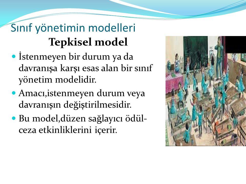 Sınıf yönetimin modelleri Tepkisel model İstenmeyen bir durum ya da davranışa karşı esas alan bir sınıf yönetim modelidir. Amacı,istenmeyen durum veya