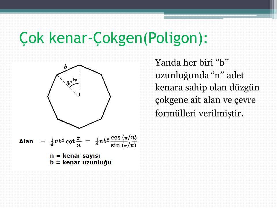 Çok kenar-Çokgen(Poligon): Yanda her biri ''b'' uzunluğunda ''n'' adet kenara sahip olan düzgün çokgene ait alan ve çevre formülleri verilmiştir.