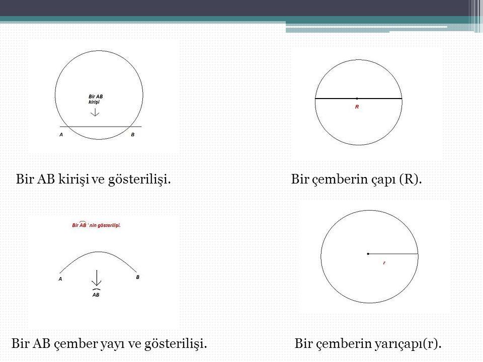 Bir AB kirişi ve gösterilişi.Bir çemberin çapı (R).