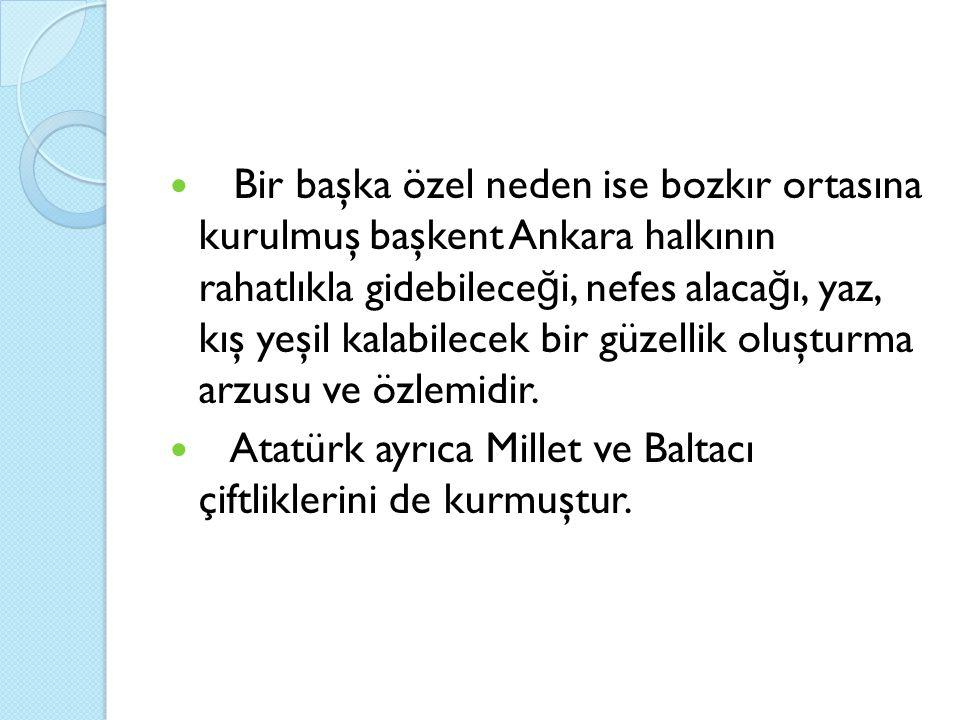 Bir başka özel neden ise bozkır ortasına kurulmuş başkent Ankara halkının rahatlıkla gidebilece ğ i, nefes alaca ğ ı, yaz, kış yeşil kalabilecek bir güzellik oluşturma arzusu ve özlemidir.