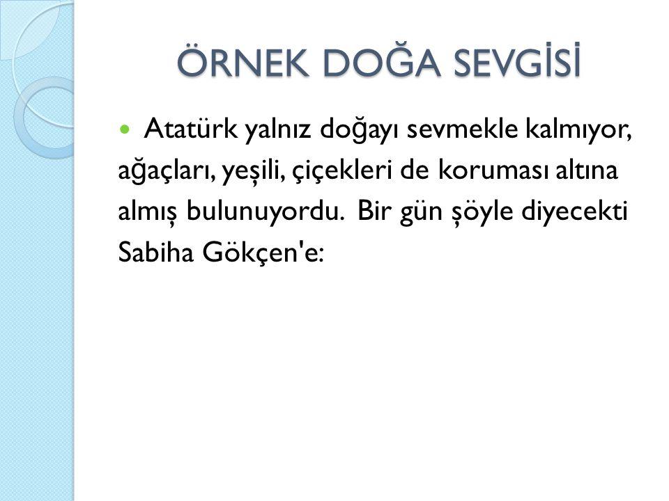 ÖRNEK DO Ğ A SEVG İ S İ Atatürk yalnız do ğ ayı sevmekle kalmıyor, a ğ açları, yeşili, çiçekleri de koruması altına almış bulunuyordu. Bir gün şöyle d