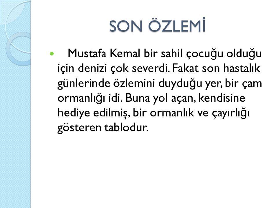 SON ÖZLEM İ Mustafa Kemal bir sahil çocu ğ u oldu ğ u için denizi çok severdi. Fakat son hastalık günlerinde özlemini duydu ğ u yer, bir çam ormanlı ğ