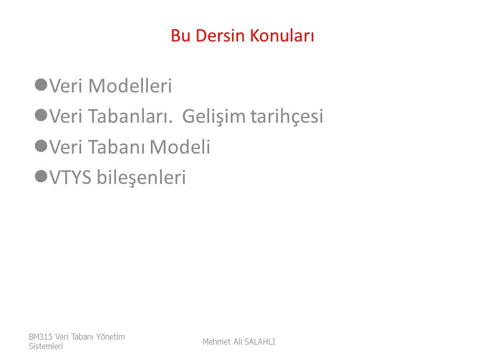 Bu Dersin Konuları Veri Modelleri Veri Tabanları. Gelişim tarihçesi Veri Tabanı Modeli VTYS bileşenleri BM315 Veri Tabanı Yönetim Sistemleri Mehmet Al