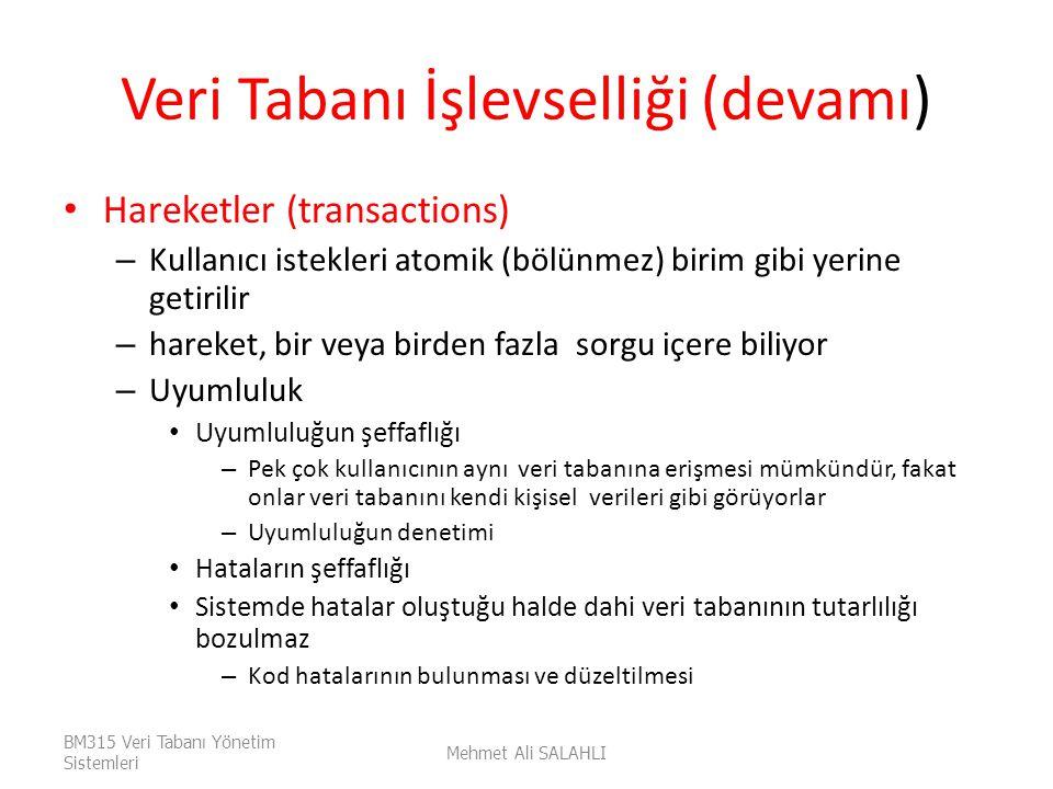 Veri Tabanı İşlevselliği (devamı) Hareketler (transactions) – Kullanıcı istekleri atomik (bölünmez) birim gibi yerine getirilir – hareket, bir veya bi