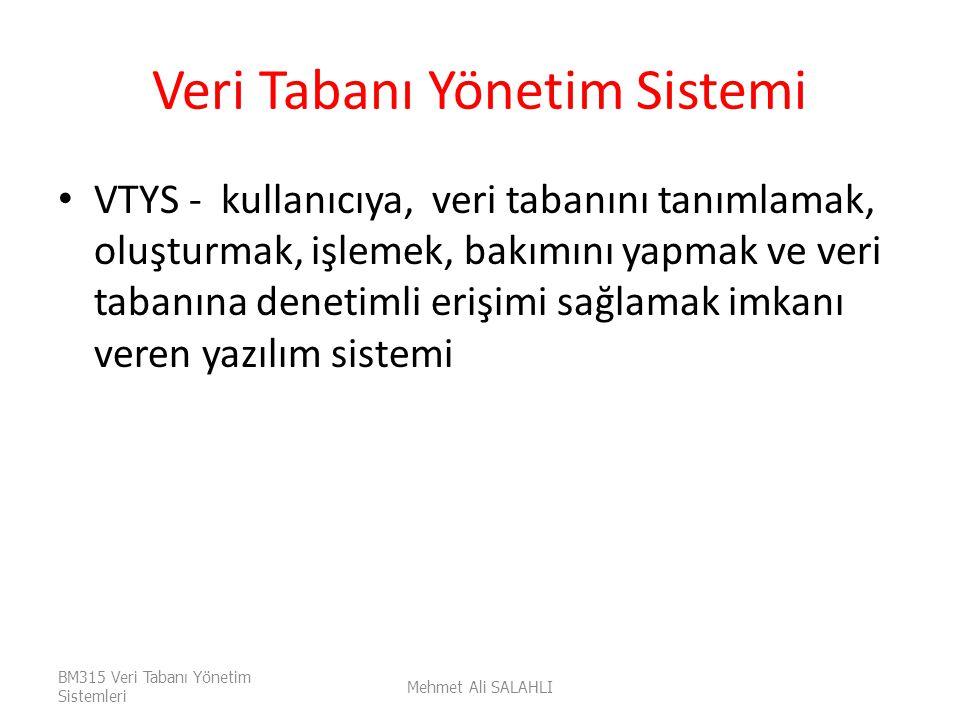 Veri Tabanı Yönetim Sistemi VTYS - kullanıcıya, veri tabanını tanımlamak, oluşturmak, işlemek, bakımını yapmak ve veri tabanına denetimli erişimi sağl