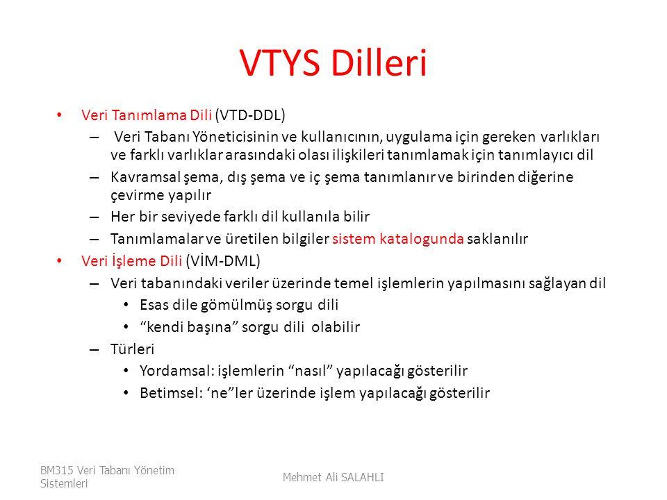 VTYS Dilleri Veri Tanımlama Dili (VTD-DDL) – Veri Tabanı Yöneticisinin ve kullanıcının, uygulama için gereken varlıkları ve farklı varlıklar arasındak