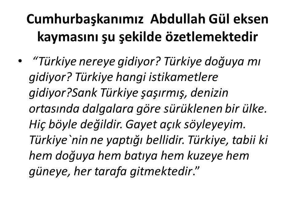 """Cumhurbaşkanımız Abdullah Gül eksen kaymasını şu şekilde özetlemektedir """"Türkiye nereye gidiyor? Türkiye doğuya mı gidiyor? Türkiye hangi istikametler"""