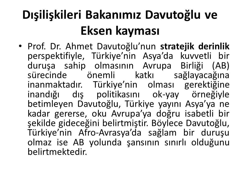 Dışilişkileri Bakanımız Davutoğlu ve Eksen kayması Prof. Dr. Ahmet Davutoğlu'nun stratejik derinlik perspektifiyle, Türkiye'nin Asya'da kuvvetli bir d
