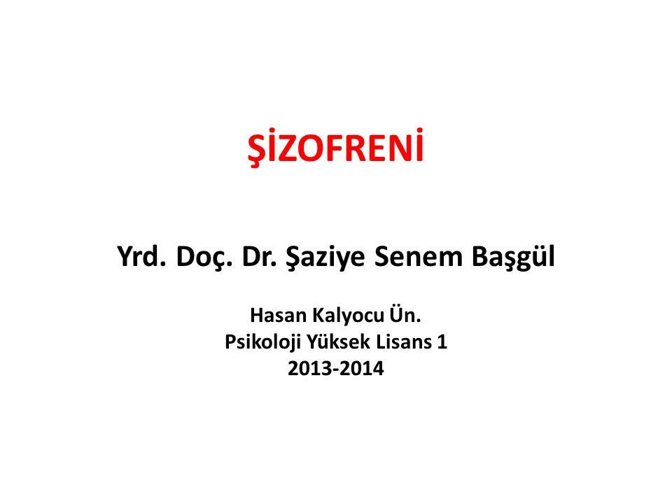 ŞİZOFRENİ Yrd. Doç. Dr. Şaziye Senem Başgül Hasan Kalyocu Ün. Psikoloji Yüksek Lisans 1 2013-2014