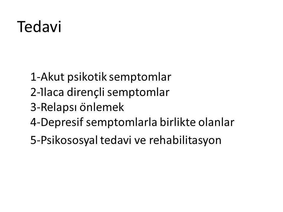 Tedavi 1-Akut psikotik semptomlar 2-İlaca dirençli semptomlar 3-Relapsı önlemek 4-Depresif semptomlarla birlikte olanlar 5-Psikososyal tedavi ve rehabilitasyon