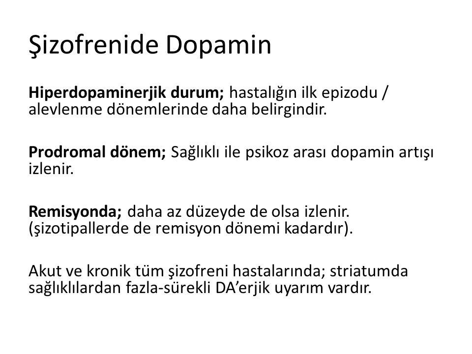 Şizofrenide Dopamin Hiperdopaminerjik durum; hastalığın ilk epizodu / alevlenme dönemlerinde daha belirgindir.