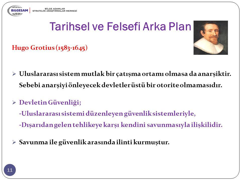 Tarihsel ve Felsefi Arka Plan 11 Hugo Grotius (1583-1645)  Uluslararası sistem mutlak bir çatışma ortamı olmasa da anarşiktir. Sebebi anarşiyi önleye