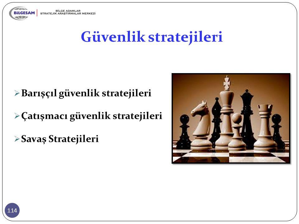 Güvenlik stratejileri 114  Barışçıl güvenlik stratejileri  Çatışmacı güvenlik stratejileri  Savaş Stratejileri