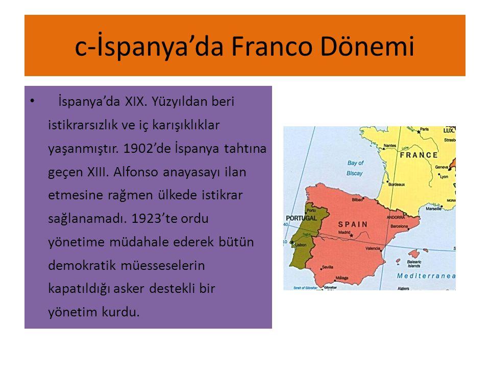 c-İspanya'da Franco Dönemi İspanya'da XIX.