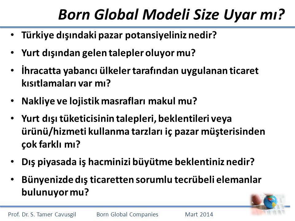 Prof. Dr. S. Tamer CavusgilBorn Global CompaniesMart 2014 Born Global Modeli Size Uyar mı.