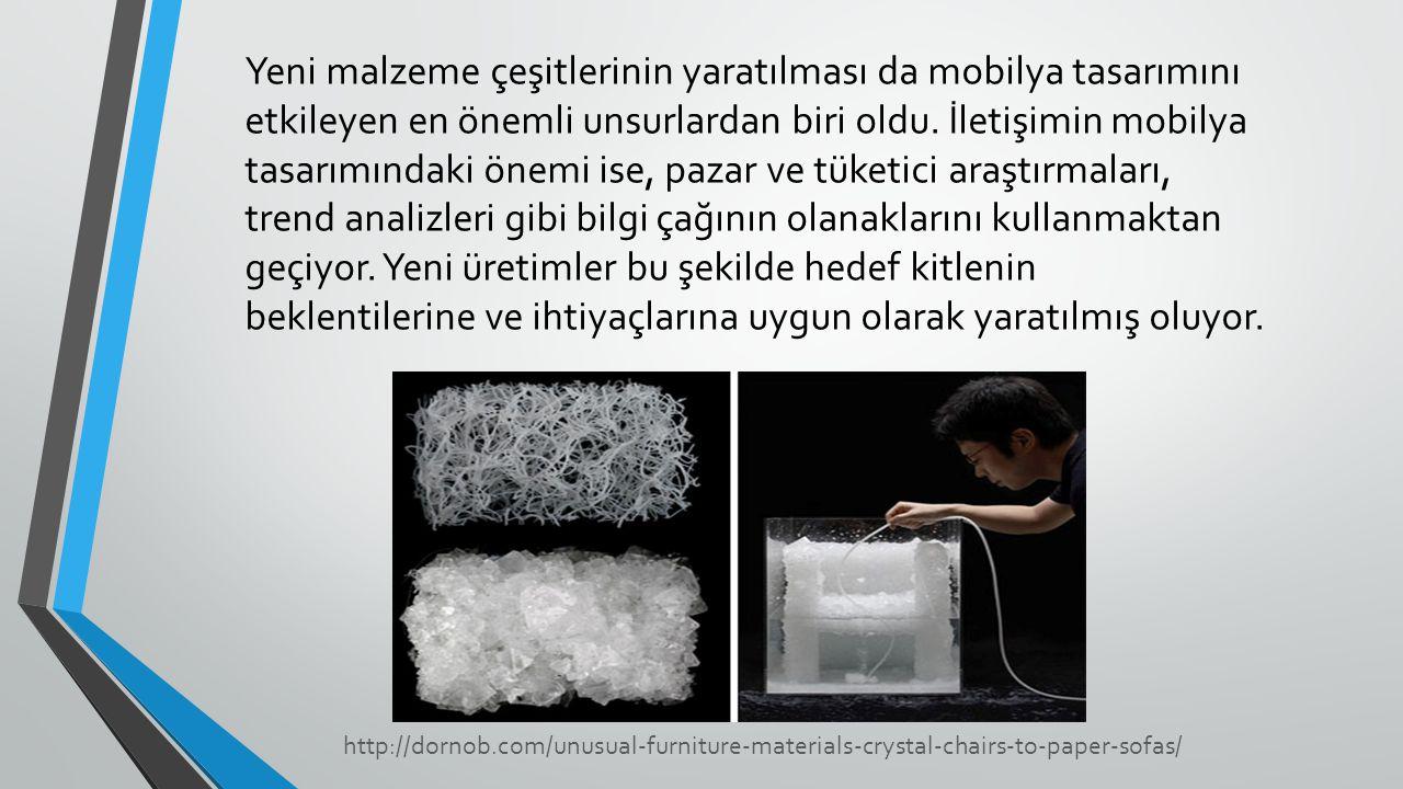 Yeni malzeme çeşitlerinin yaratılması da mobilya tasarımını etkileyen en önemli unsurlardan biri oldu. İletişimin mobilya tasarımındaki önemi ise, paz