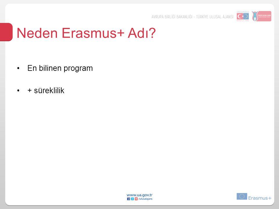 Erasmus+ Rakamsal Hedefleri Toplam bütçe: 14,7 Milyar € %40 artış 4 milyon Avrupalı için yurtdışında –eğitim alma, –iş deneyimi kazanma ve –gönüllü olma fırsatı