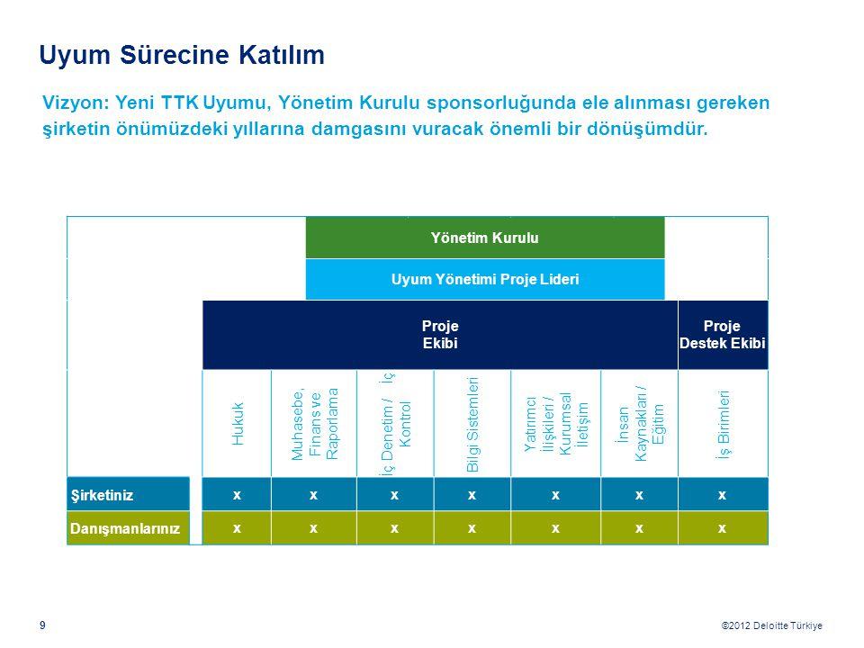 9 ©2012 Deloitte Türkiye Yönetim Kurulu Uyum Yönetimi Proje Lideri Proje Ekibi Proje Destek Ekibi Hukuk Muhasebe, Finans ve Raporlama İç Denetim / İç