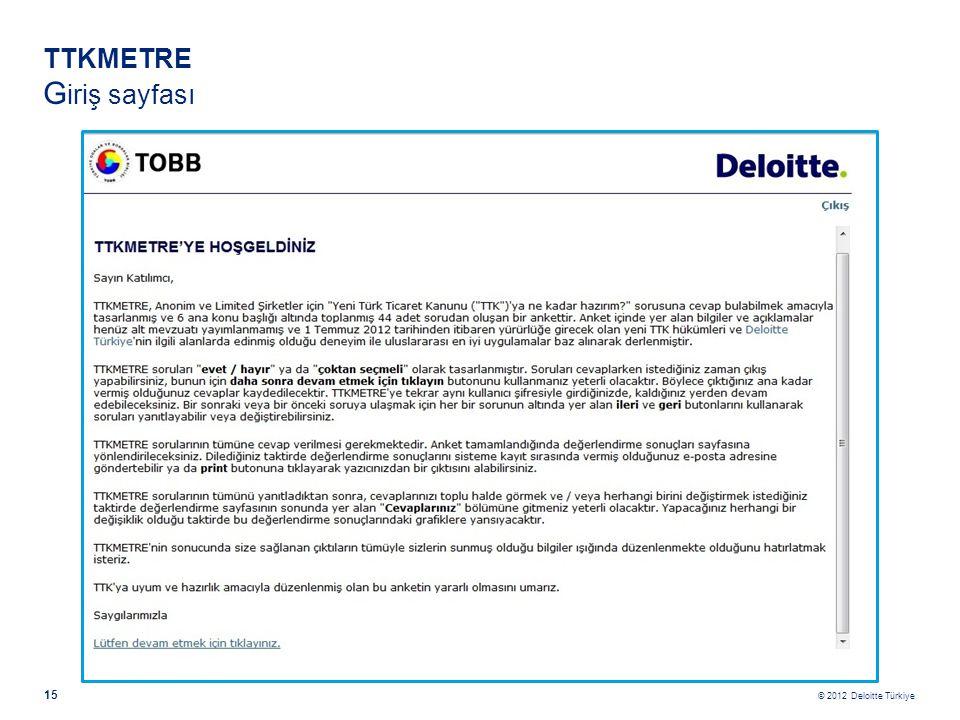 © 2012 Deloitte Türkiye 15 TTKMETRE G iriş sayfası