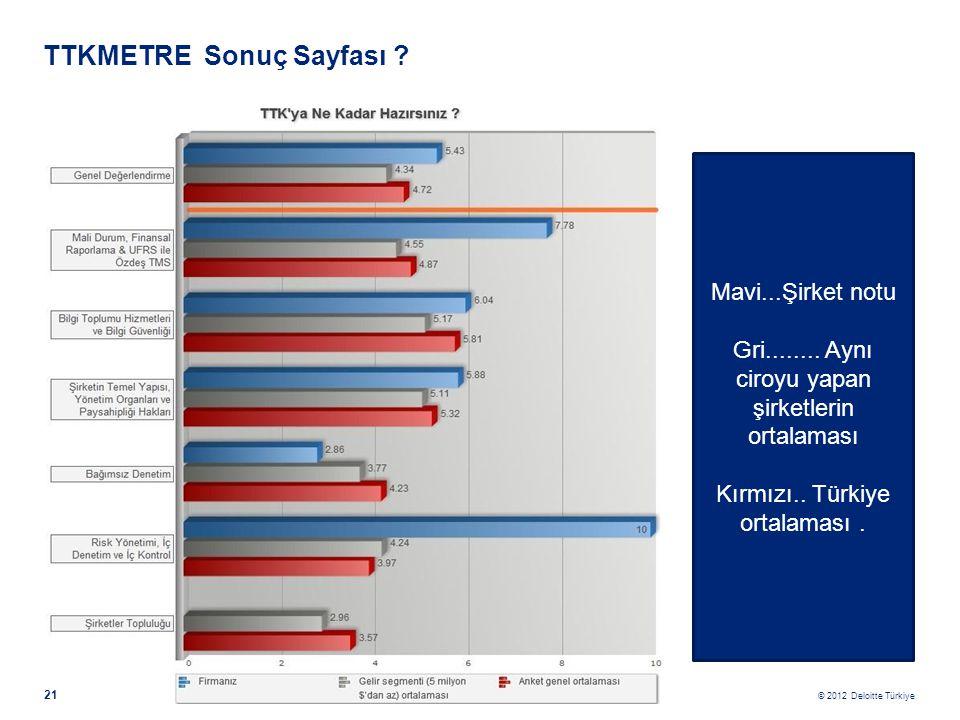 © 2012 Deloitte Türkiye 21 TTKMETRE Sonuç Sayfası ? Mavi...Şirket notu Gri........ Aynı ciroyu yapan şirketlerin ortalaması Kırmızı.. Türkiye ortalama