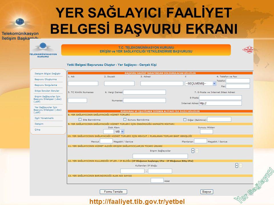 YER SAĞLAYICI FAALİYET BELGESİ BAŞVURU EKRANI http://faaliyet.tib.gov.tr/yetbel