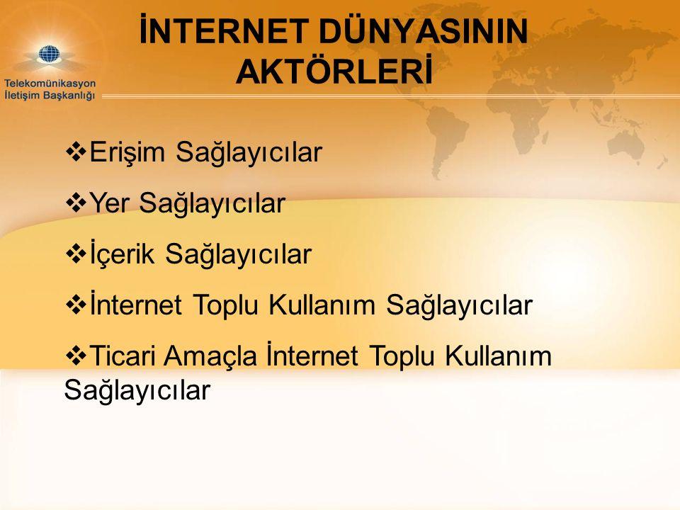 İNTERNET DÜNYASININ AKTÖRLERİ  Erişim Sağlayıcılar  Yer Sağlayıcılar  İçerik Sağlayıcılar  İnternet Toplu Kullanım Sağlayıcılar  Ticari Amaçla İn