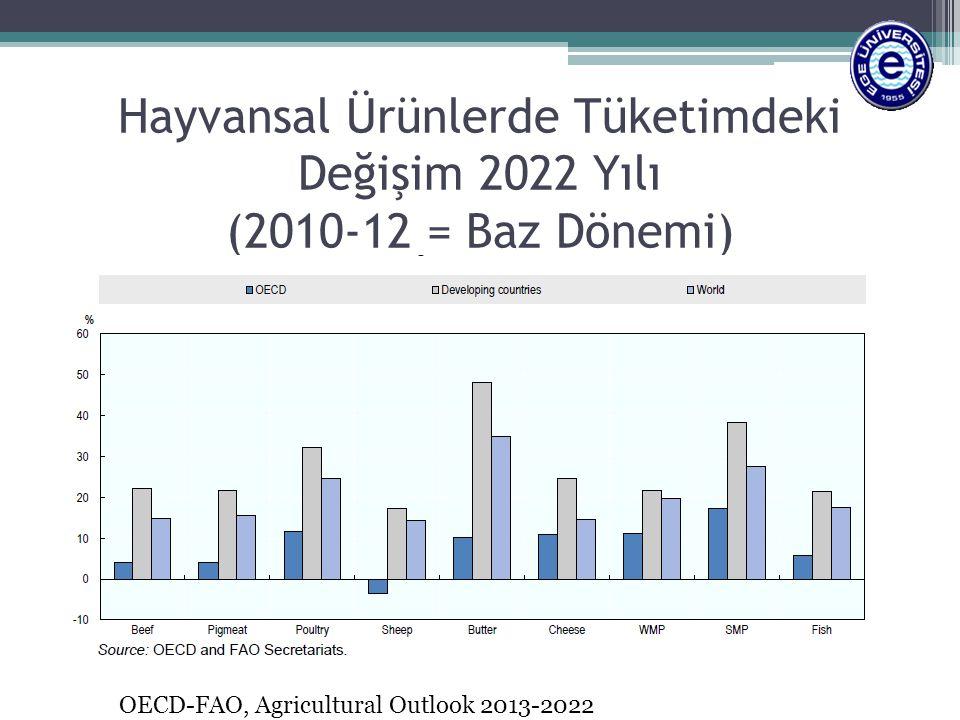 Hayvansal Ürünlerde Tüketimdeki Değişim 2022 Yılı (2010-12 = Baz Dönemi) OECD-FAO, Agricultural Outlook 2013-2022
