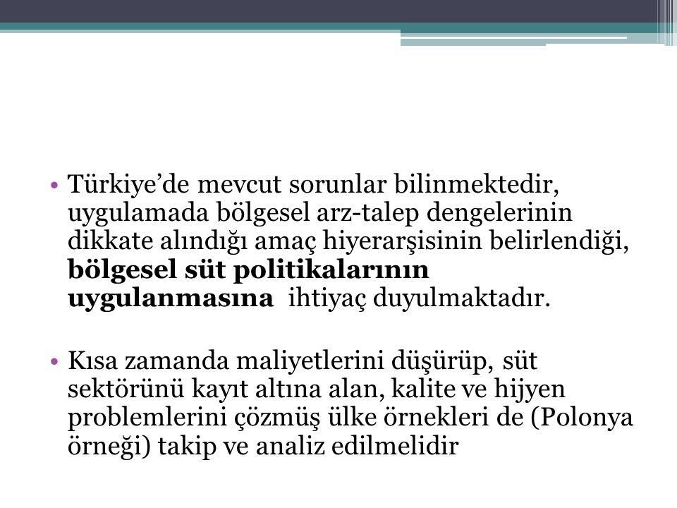 Türkiye'de mevcut sorunlar bilinmektedir, uygulamada bölgesel arz-talep dengelerinin dikkate alındığı amaç hiyerarşisinin belirlendiği, bölgesel süt p