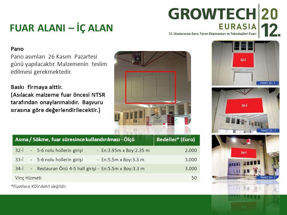 FUAR ALANI – İÇ ALAN Pano Pano asımları 26 Kasım Pazartesi günü yapılacaktır. Malzemenin teslim edilmesi gerekmektedir. Baskı firmaya aittir. (Asılaca