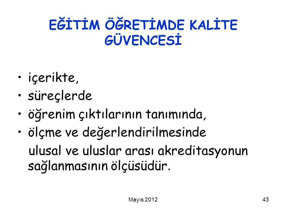 Mayıs 201243 EĞİTİM ÖĞRETİMDE KALİTE GÜVENCESİ içerikte, süreçlerde öğrenim çıktılarının tanımında, ölçme ve değerlendirilmesinde ulusal ve uluslar ar