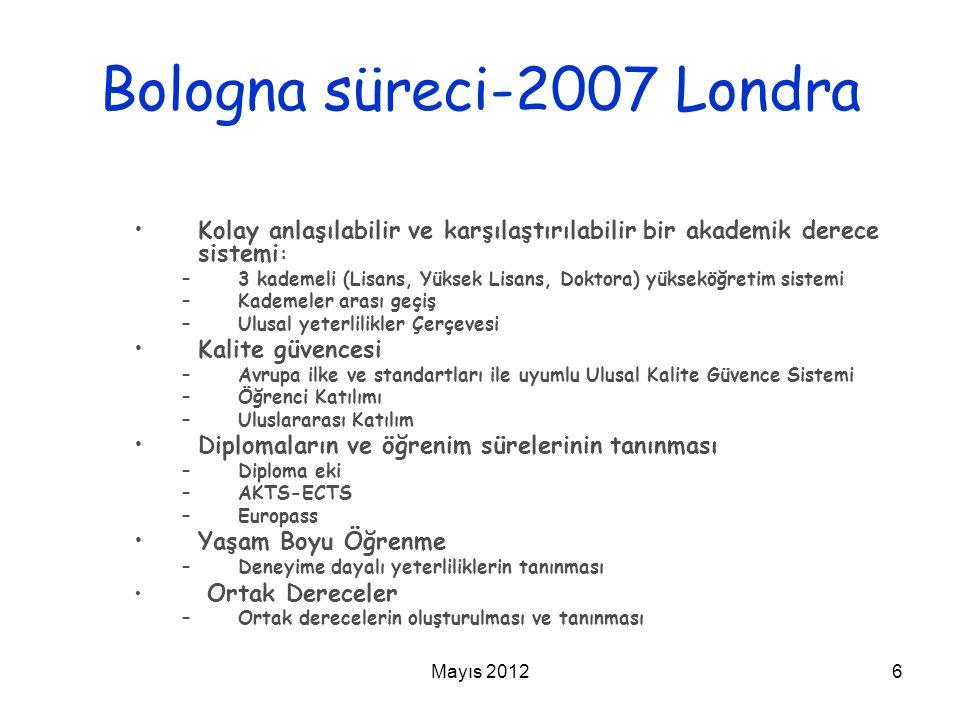 Mayıs 20126 Bologna süreci-2007 Londra Kolay anlaşılabilir ve karşılaştırılabilir bir akademik derece sistemi : –3 kademeli (Lisans, Yüksek Lisans, Do