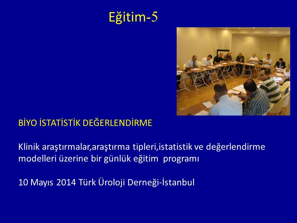 Eğitim -5 BİYO İSTATİSTİK DEĞERLENDİRME Klinik araştırmalar,araştırma tipleri,istatistik ve değerlendirme modelleri üzerine bir günlük eğitim programı