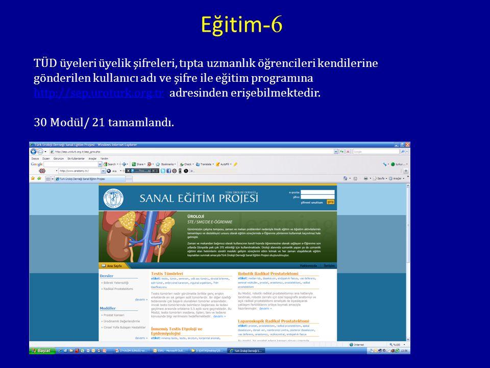 TÜD üyeleri üyelik şifreleri, tıpta uzmanlık öğrencileri kendilerine gönderilen kullanıcı adı ve şifre ile eğitim programına http://sep.uroturk.org.tr