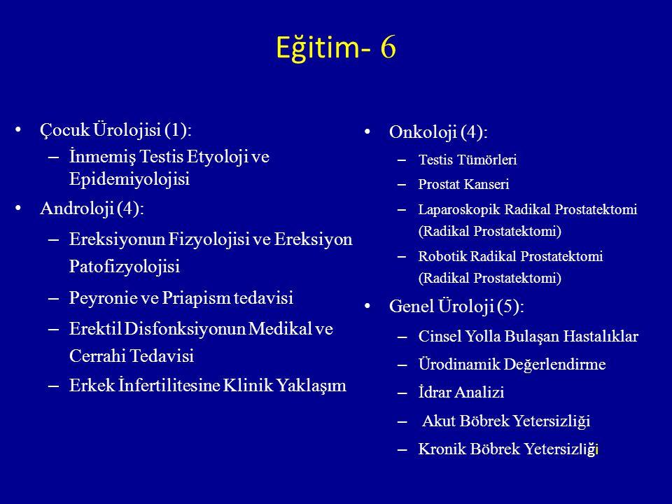 Çocuk Ürolojisi (1): – İnmemiş Testis Etyoloji ve Epidemiyolojisi Androloji (4): – Ereksiyonun Fizyolojisi ve Ereksiyon Patofizyolojisi – Peyronie ve