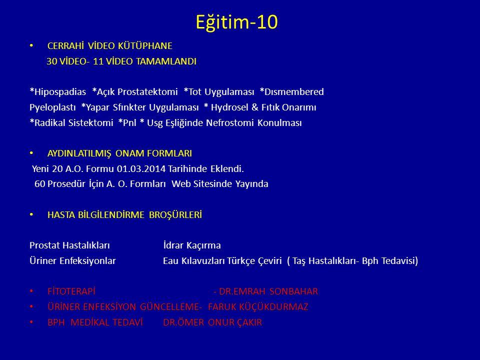 Eğitim-10 CERRAHİ VİDEO KÜTÜPHANE 30 VİDEO- 11 VİDEO TAMAMLANDI *Hipospadias *Açık Prostatektomi *Tot Uygulaması *Dısmembered Pyeloplastı *Yapar Sfınk
