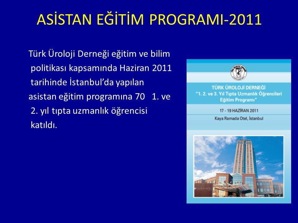ASİSTAN EĞİTİM PROGRAMI-2011 Türk Üroloji Derneği eğitim ve bilim politikası kapsamında Haziran 2011 tarihinde İstanbul'da yapılan asistan eğitim prog