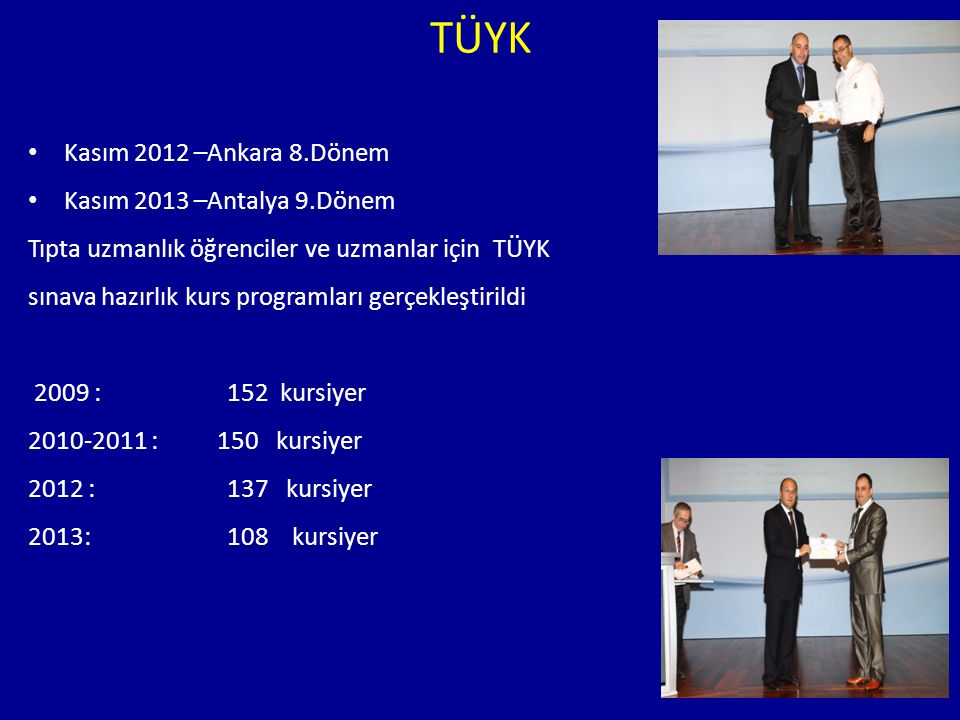 TÜYK Kasım 2012 –Ankara 8.Dönem Kasım 2013 –Antalya 9.Dönem Tıpta uzmanlık öğrenciler ve uzmanlar için TÜYK sınava hazırlık kurs programları gerçekleş