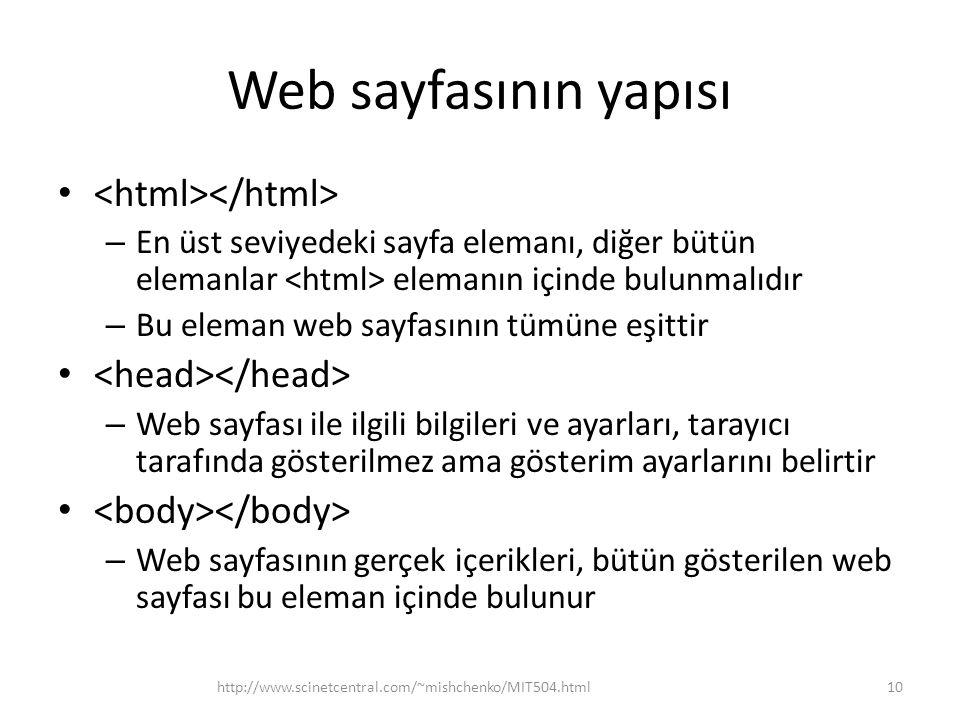 Web sayfasının yapısı – En üst seviyedeki sayfa elemanı, diğer bütün elemanlar elemanın içinde bulunmalıdır – Bu eleman web sayfasının tümüne eşittir
