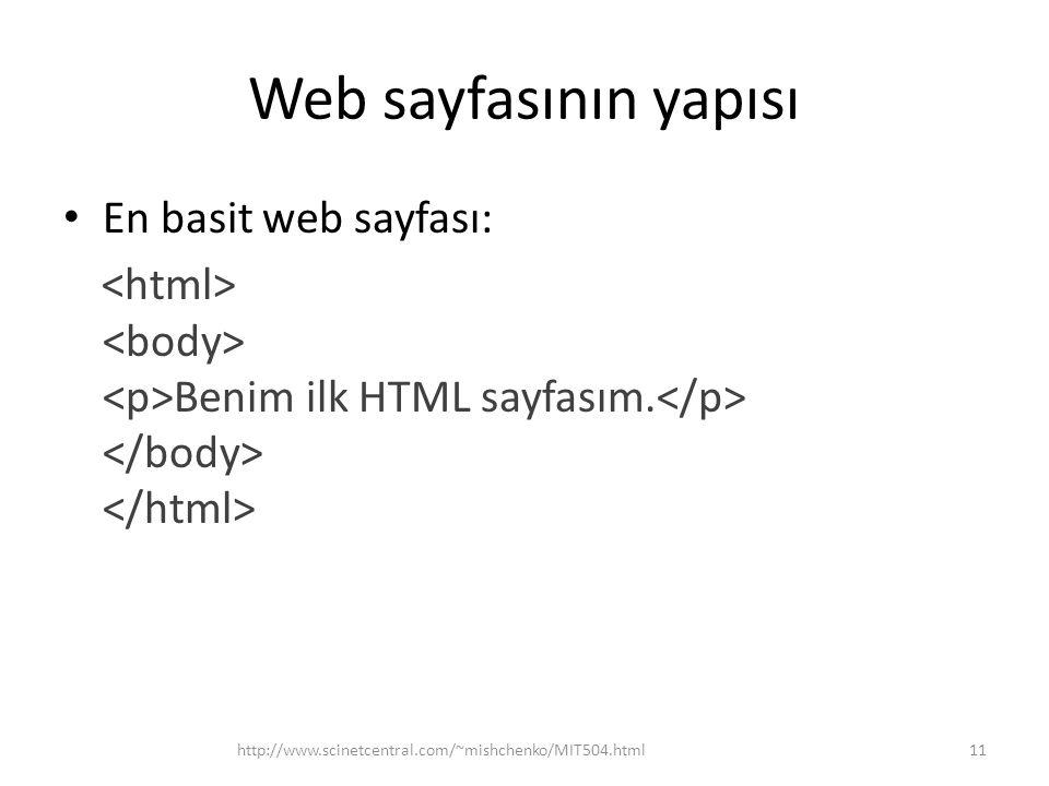 Web sayfasının yapısı En basit web sayfası: Benim ilk HTML sayfasım. http://www.scinetcentral.com/~mishchenko/MIT504.html11