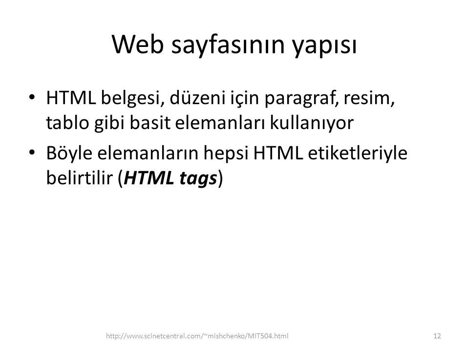 Web sayfasının yapısı HTML belgesi, düzeni için paragraf, resim, tablo gibi basit elemanları kullanıyor Böyle elemanların hepsi HTML etiketleriyle bel