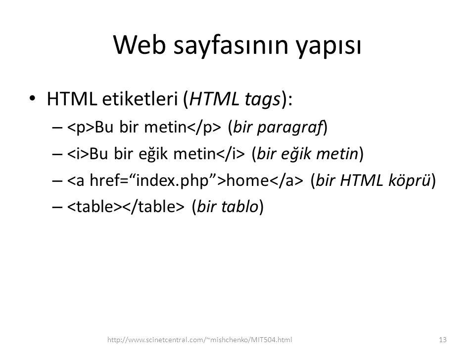 Web sayfasının yapısı HTML etiketleri (HTML tags): – Bu bir metin (bir paragraf) – Bu bir eğik metin (bir eğik metin) – home (bir HTML köprü) – (bir t