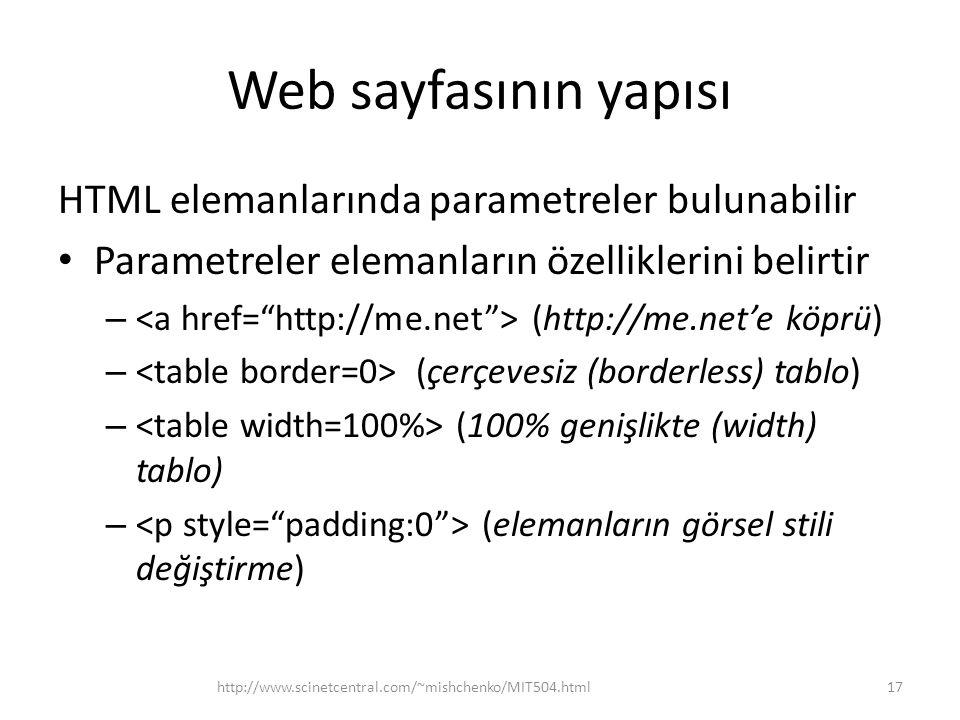 Web sayfasının yapısı HTML elemanlarında parametreler bulunabilir Parametreler elemanların özelliklerini belirtir – (http://me.net'e köprü) – (çerçeve